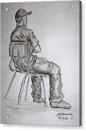 Seated Man In Ball Cap Acrylic Print by Jeffrey Oleniacz