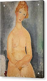 Seated Nude Woman Painting Acrylic Print by