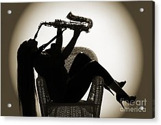 Seated Saxophone Playere Acrylic Print