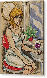 Seated Woman With Wine Acrylic Print by John Ashton Golden