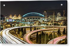 Seattle And Curved Road Light Trails Acrylic Print by Michael Lee