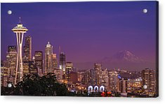 Seattle And Mt. Rainier After Dark - City Skyline Night Photograph Acrylic Print by Duane Miller
