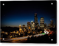 Seattle At Night Acrylic Print by Brian Xavier
