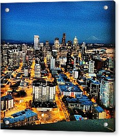Seattle At Night From The Top Of The Acrylic Print
