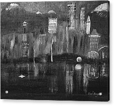 Seattle Black And White Acrylic Print by Dick Bourgault