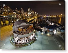 Acrylic Print featuring the photograph Seattle City Skyline And Marina At Night by JPLDesigns