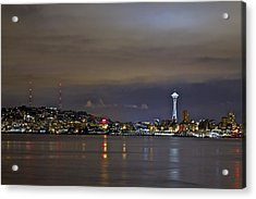 Seattle Cityscape At Night Acrylic Print