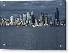 Seattle Cityscape From Alki Beach Acrylic Print