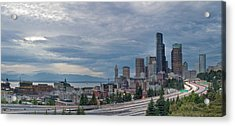 Acrylic Print featuring the photograph Seattle Downtown Skyline And Freeway Panorama by JPLDesigns