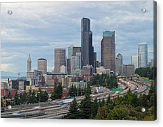 Acrylic Print featuring the photograph Seattle Downtown Skyline On A Cloudy Day by JPLDesigns