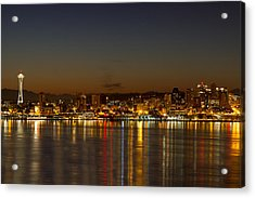 Acrylic Print featuring the photograph Seattle Downtown Skyline Reflection At Dawn by JPLDesigns