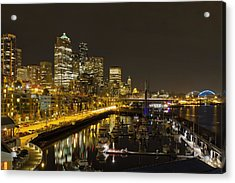 Acrylic Print featuring the photograph Seattle Downtown Waterfront Skyline At Night Reflection by JPLDesigns