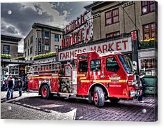 Seattle Fire Engine Acrylic Print by Spencer McDonald