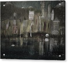 Seattle In The Rain Cityscape Acrylic Print by Dick Bourgault