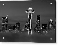Seattle Morning Mist Black And White Acrylic Print by Benjamin Yeager
