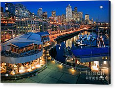 Seattle Piers At Night Acrylic Print by Inge Johnsson