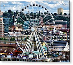 Seattle Port Ferris Wheel Acrylic Print