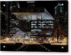 Seattle Public Library At Night Acrylic Print by Brian Xavier