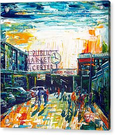 Seattle Public Market Center Acrylic Print by Suzanne King