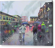 Seattle Public Market In Rain Acrylic Print by John Fish