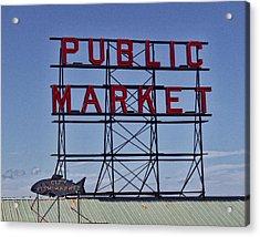 Seattle Public Market Acrylic Print by Ron Roberts