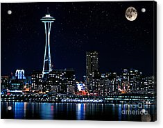 Seattle Skyline At Night With Full Moon Acrylic Print