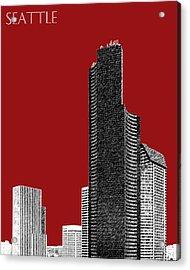 Seattle Skyline Columbia Tower - Dark Red Acrylic Print by DB Artist