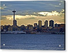 Seattle Skyline In Twilight Acrylic Print