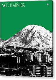Seattle Skyline Mt. Rainier - Forest Green Acrylic Print