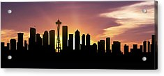 Seattle Skyline Panorama Sunset Acrylic Print by Aged Pixel