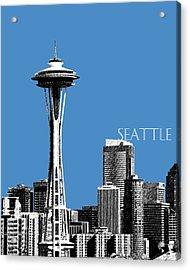Seattle Skyline Space Needle - Slate Blue Acrylic Print by DB Artist
