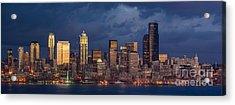 Seattle Skyline Sunset Detail Acrylic Print by Mike Reid