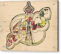 Seattle Sonics Retro Poster Acrylic Print by Florian Rodarte