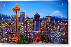 Seattle Space Needle #6 Acrylic Print by Portland Art Creations