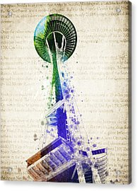 Seattle Space Needle Acrylic Print by Aged Pixel