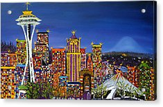 Seattle Space Needle At Dusk Acrylic Print by Portland Art Creations