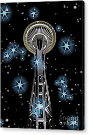 Acrylic Print featuring the digital art Seattle Space Needle Blue Stars by Chalet Roome-Rigdon