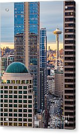 Seattle Space Needle Golden Sunset Light Acrylic Print by Mike Reid