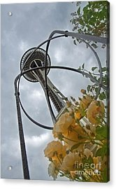 Seattle Spaceneedle With Watercolor Effect Yellow Roses Acrylic Print by Valerie Garner
