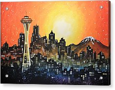 Seattle Sunset Acrylic Print by Amy Giacomelli