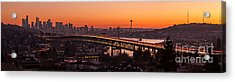 Seattle Sunset Panorama Acrylic Print by Mike Reid