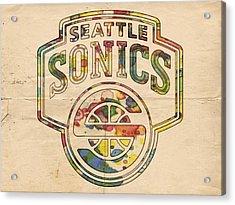 Seattle Supersonics Poster Art Acrylic Print by Florian Rodarte