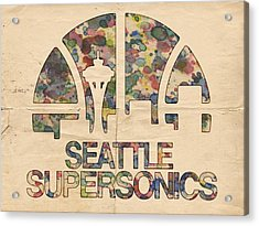 Seattle Supersonics Poster Vintage Acrylic Print by Florian Rodarte