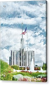 Acrylic Print featuring the painting Seattle Temple 1 by Greg Collins