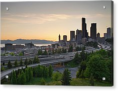 Acrylic Print featuring the photograph Seattle Washington Downtown City Sunset by JPLDesigns