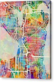 Seattle Washington Street Map Acrylic Print by Michael Tompsett