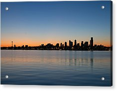 Acrylic Print featuring the photograph Seattle Washington Waterfront Skyline At Sunrise Panorama by JPLDesigns