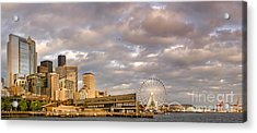 Seattle Waterfront Bathed In Golden Hour - Seattle Skyline - Puget Sound Washington State Acrylic Print by Silvio Ligutti