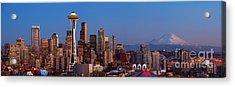 Seattle Winter Evening Panorama Acrylic Print by Inge Johnsson