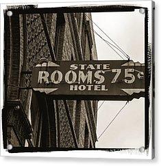 Seattle's Pioneer Square - Historic State Hotel Acrylic Print by Jordan Blackstone